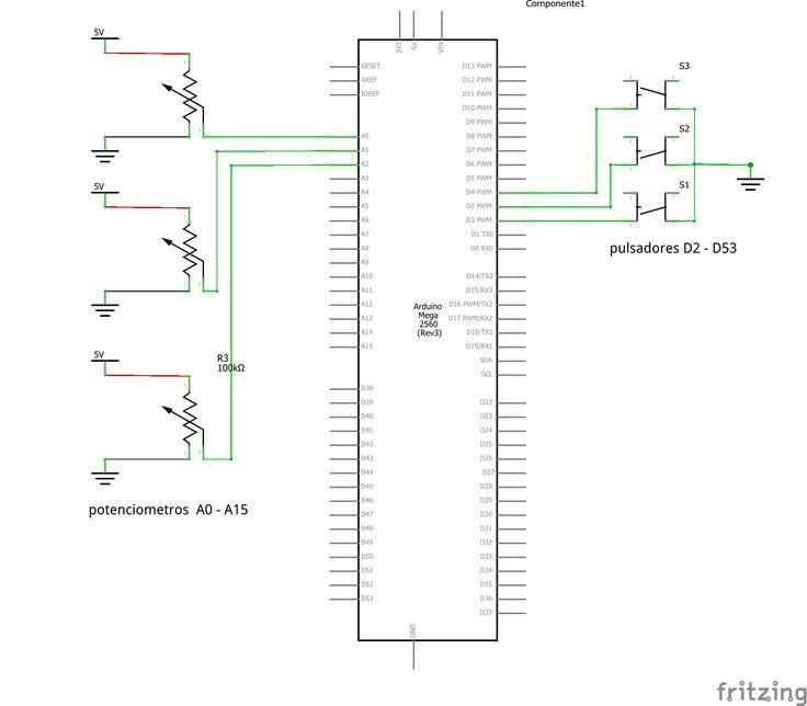 Controlador midi con arduino mega  Cuenta con 51 entradas para pulsadores y 16 entradas para potenciómetro. Mega Arduino Midi Controller It has 51 inputs for push buttons and 16 inputs for potentiometer.