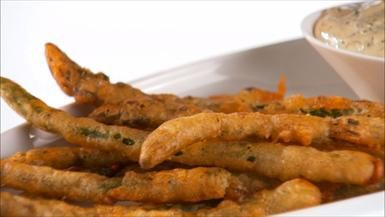 Beer-Battered Asparagus and dipping sauce-