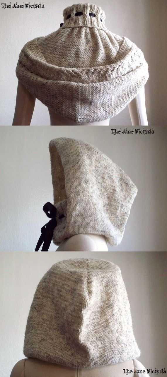 Knitting pattern for hooded cowl Alasse Miriel - This romantic design features a giant hood with a lace border that when down looks like a cape.