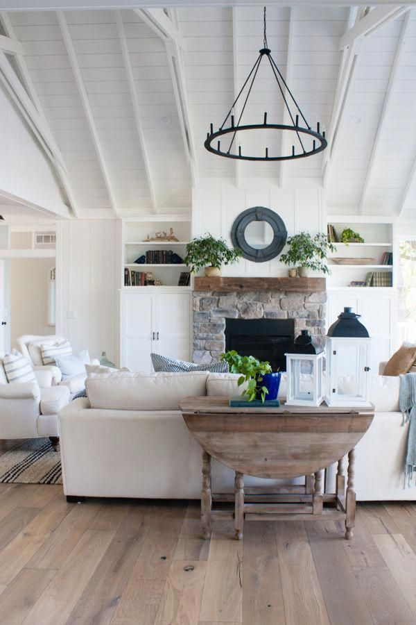 we are really liking the vibe of this rustic, yet modern living room