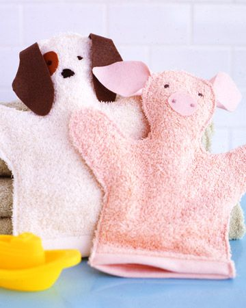 Washcloth Puppets  Turn basic terry-cloth towels into charming bath-time gifts for little ones with this simple sewing project.