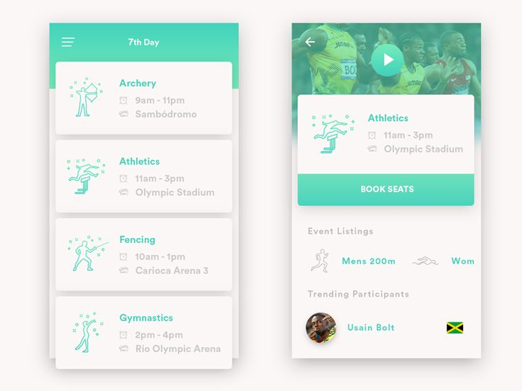 Olympics Schedule App by Kyran Leech #Design Popular #Dribbble #shots