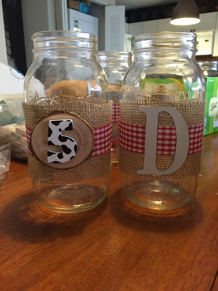 Mason Jar Centerpieces for my nephew's cowboy / ranch /farm theme birthday party.