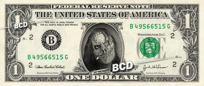 JAY WEINBERG Slipknot - Real Dollar Bill Cash Money Collectible Memorabilia Celebrity Novelty by Vincent-the-Artist, $7.77 USD
