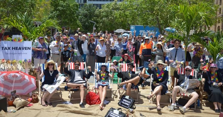 #forTomorrow - 'The World's Biggest Mock Tax Haven' - by TEAR Australia. Micah Challenge advocates gather in Brisbane's CBD to form tax evader's paradise. Photo credit: Lewis Best