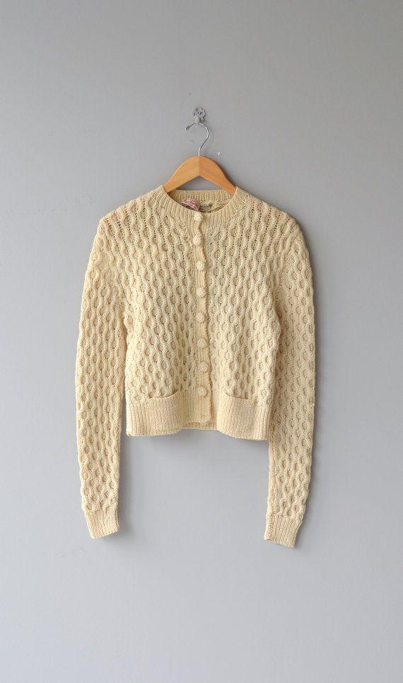 Tobermory cardigan 1950s wool sweater cream wool by DearGolden