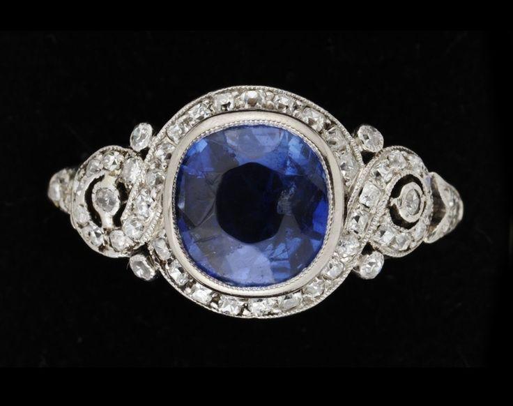 A platinum, blue sapphire and diamond 1930s ring.