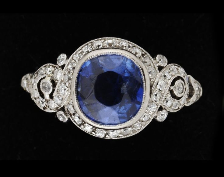 A platinum, blue sapphire and diamond 1930s ring.