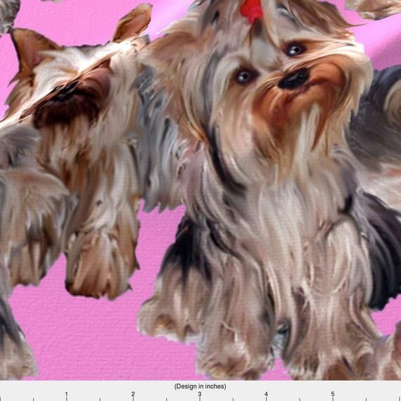 Yorkies on Pink Fabric – Yorkies On Pink Background By Dogdaze – Yorkshire Terrier Puppy Pet Cotton – Products