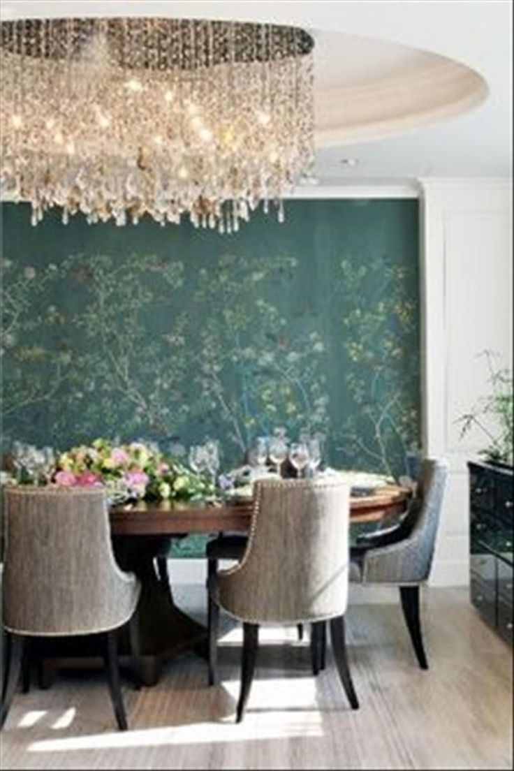 Dining Room Blue Wallpaper With Chandelier Also Flower Bouquet And Crystal  Glass Besides Side Board Green Part 40