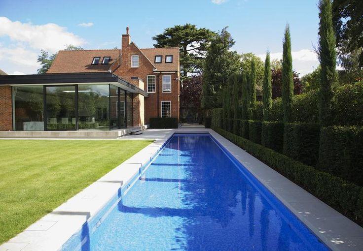 Outdoor 'Guncast' swimming pool in Surrey