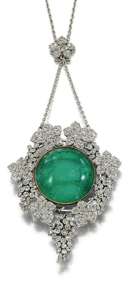 Edwardian. #Emerald and Diamond #Pendant, c1905. | #jewel #jewelry #antique