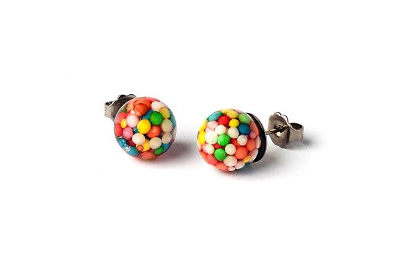Sprinkles Stud Earrings by ArcticGlassStudios on Etsy
