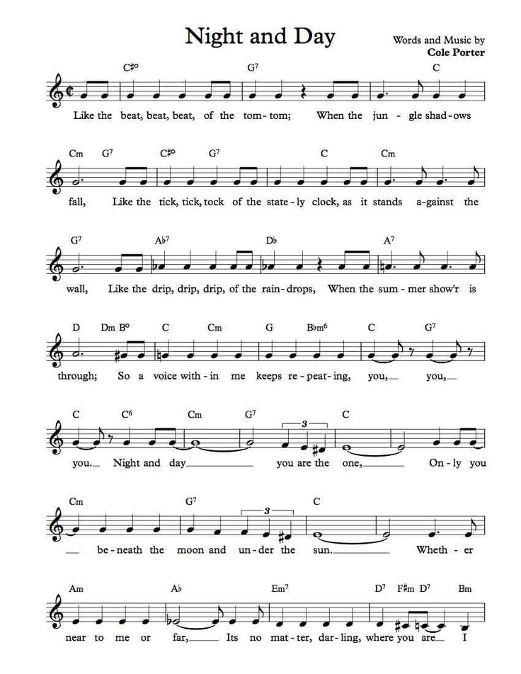 free sheet music free lead sheet night and day by cole porter in c major and d major. Black Bedroom Furniture Sets. Home Design Ideas