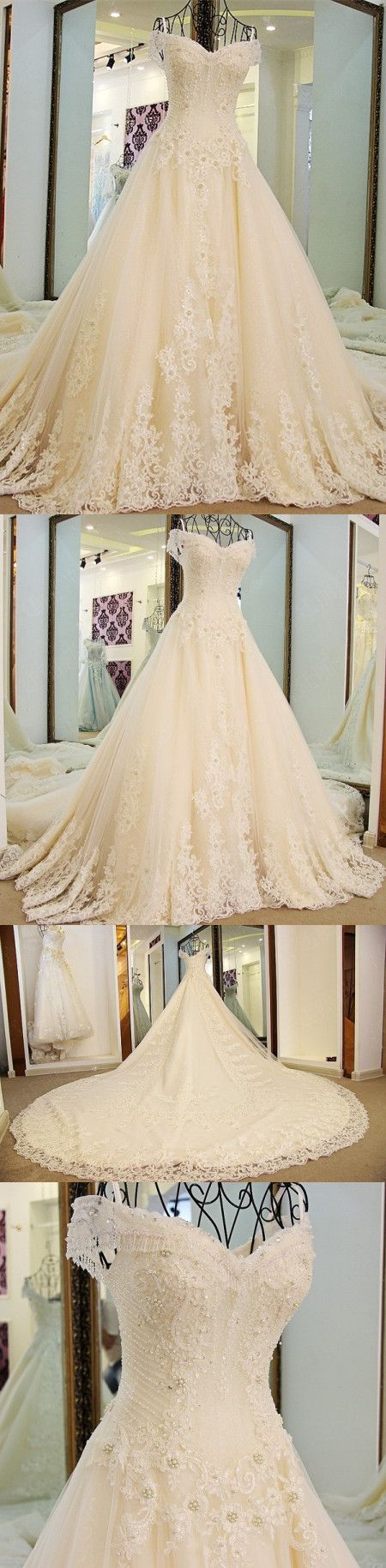 A-line Spaghetti Strap Cathedral Train Tulle Lace Beaded Wedding Dresses ASD2626 #weddingdresses #bridaldresses #lace #romantic #princess #weddings