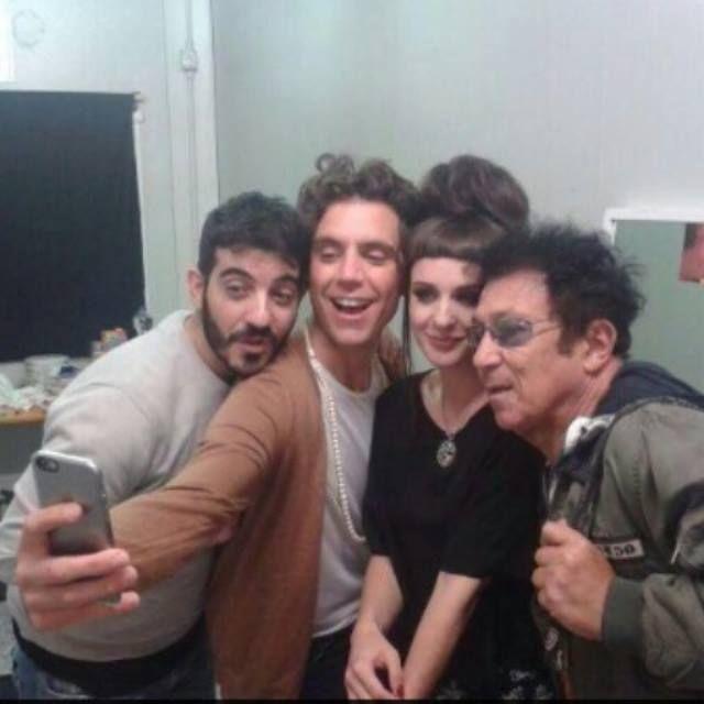 Mika with Mario, Emma (XF8) and italian singer and composer Edoardo Bennato
