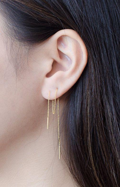 Pendientes de Cadena Largos Chapado en Oro Rosa por lunaijewelry
