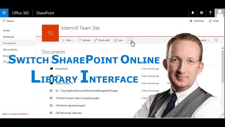 *Switch SharePoint Online Library Interface* Peter Kalmström gives an overview of the new SharePoint Online library interface, and shows how to switch between new and classic. Also refer to: http://www.kalmstrom.com/Tips/SharePoint-Online-Course/Library-Interface.htm