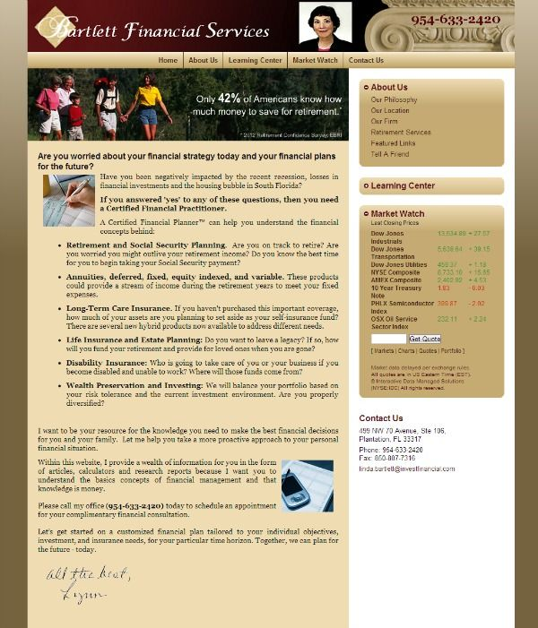 Bartlett Financial Adviser website