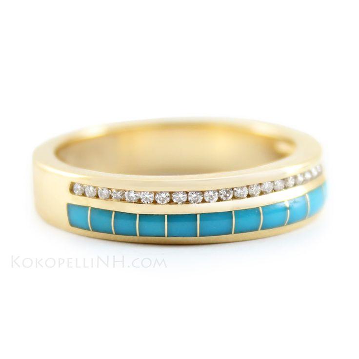 Please be my wedding band :-) Desert Oasis - River Diamond and Turquoise Wedding Band