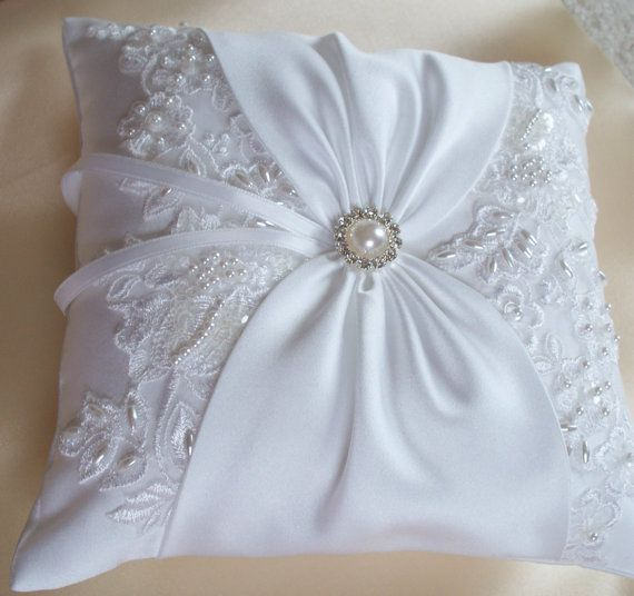 Wedding Ring Pillow with Beaded Lace, White or Aqua Satin Sash Cinched by Pearl …
