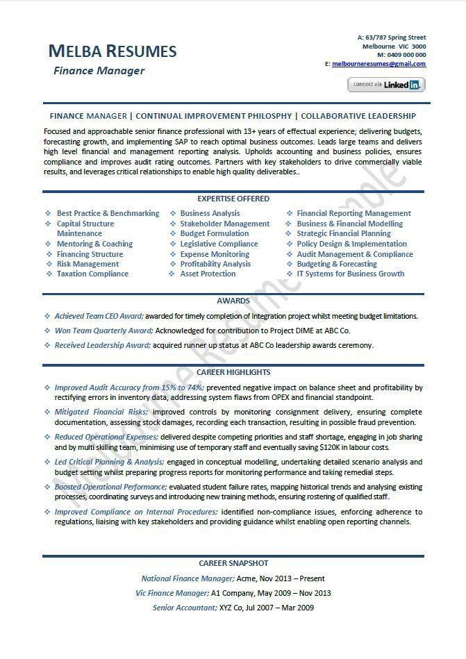 Finance Manager Resume Example Template Director Sample Samples