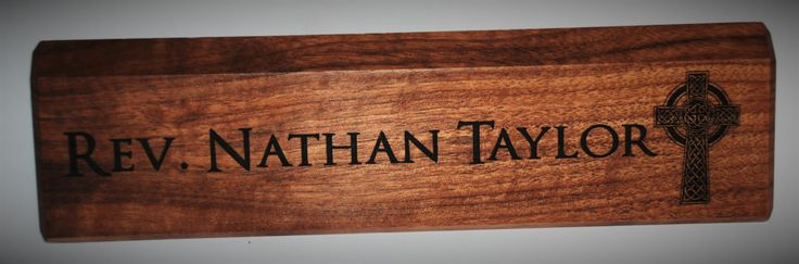 Personalized Wooden Desk Name Plates 10 Inch solid Walnut wood, custom engraved with the text of your choice custom wooden sign by MemoriesMadeCustom on Etsy