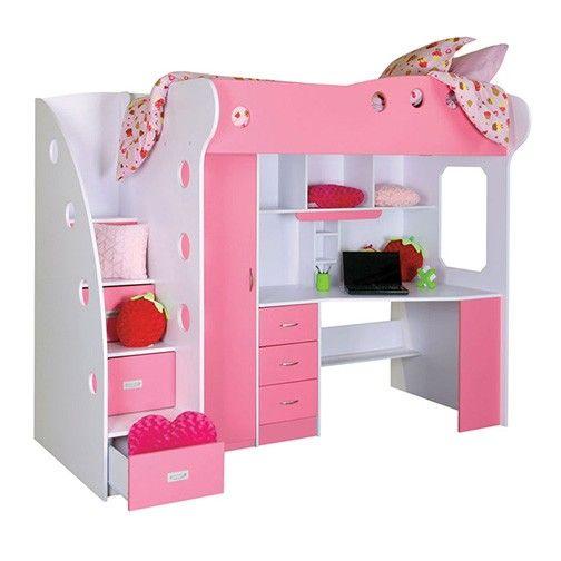 Nika Loft Bed White Pink White Bedding Bed Loft