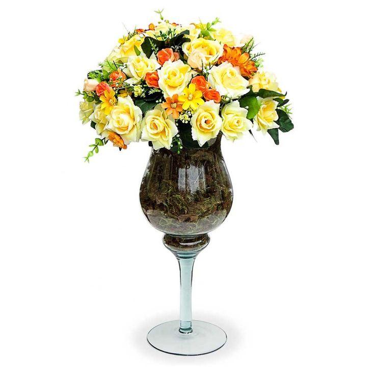 Arranjo de Flores Artificiais Rosas Amarelas na Taça de vidro 60x30 cm - Arranjos de Flores