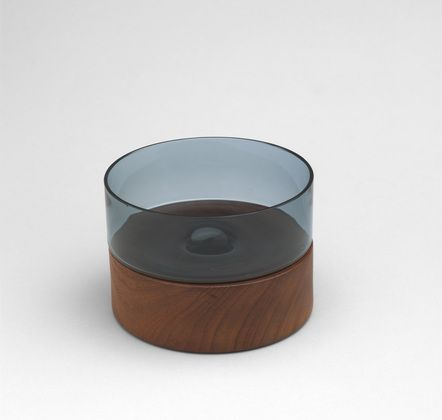 Nanny Still; Wood and Glass Candle Holder, 1950s.
