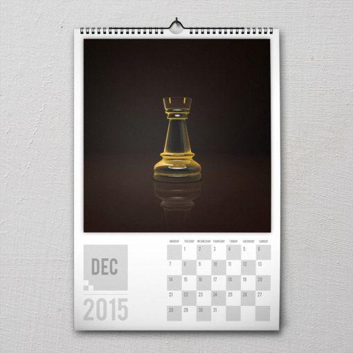 December 2015 #PremiumChessArtCalender #PremiumChess #chess #art #calender #kalender #LikeableDesign #illustration #3Dartwork #3Ddesign #chesspieces #chessart
