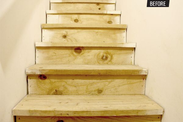 """""""Finishing"""" unfinished stairs on the cheap."""