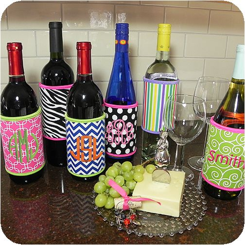Wine Koozies    These Wine Koozies are great for taking to the beach, picnics and make  wonderful hostess gifts. Neoprene keeps wine cool, velcro strip makes  it easy to fit on most wine bottles and makes monogramming simple!  Choose from 6 fun and fabulous prints.