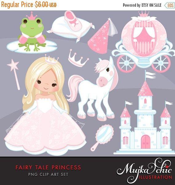 50% de descuento venta princesa de cuento de hadas imágenes prediseñadas. Personajes de cuento de hadas, carro princesa, tiara, el Príncipe Rana, Castillo princesa, varita mágica y el espejo