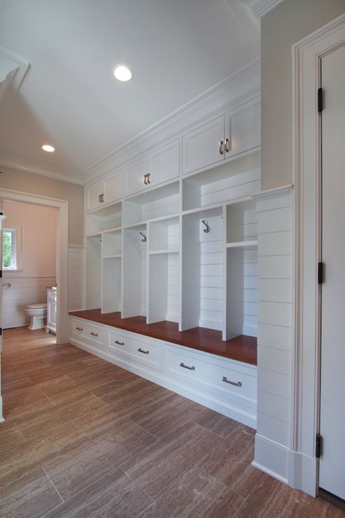 Blue Water Home Builders - laundry/mud rooms - mud room, mudroom, mud room lockers, open lockers, mudroom cabinets, long mudroom, large mudr...