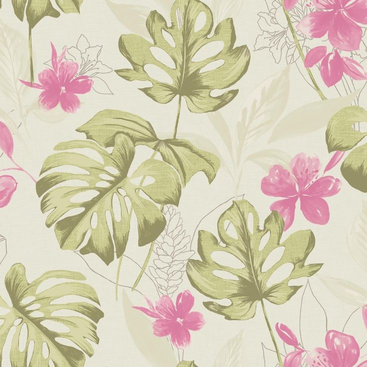 Leafy green wallpaper with pink flowers on a natural background. From the Paradise collection, Panama 98352 by Holden. Available in NZ through Guthrie Bowron stores.