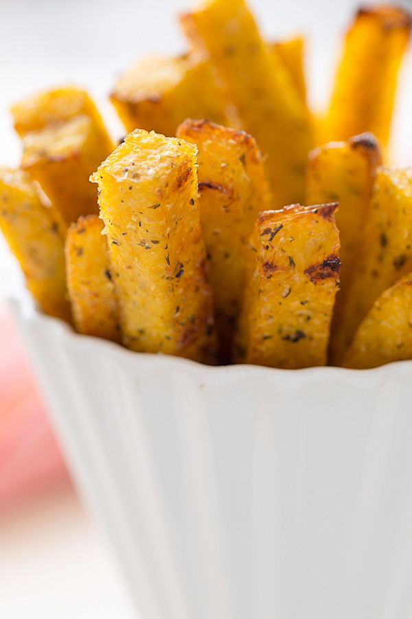Baked Polenta Fries Polenta from a tube, cut into fries and baked for 40 minutes