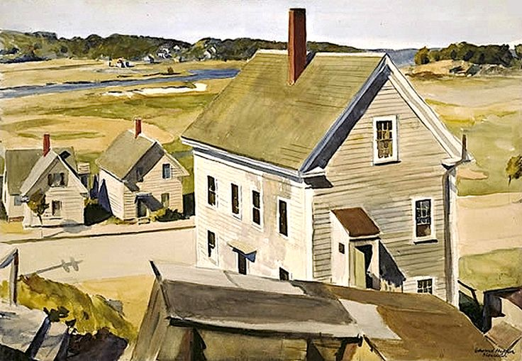 Edward Hopper (1882 - 1967). House by Squam River, Gloucester,1926. Watercolor. 12 x 15 in.