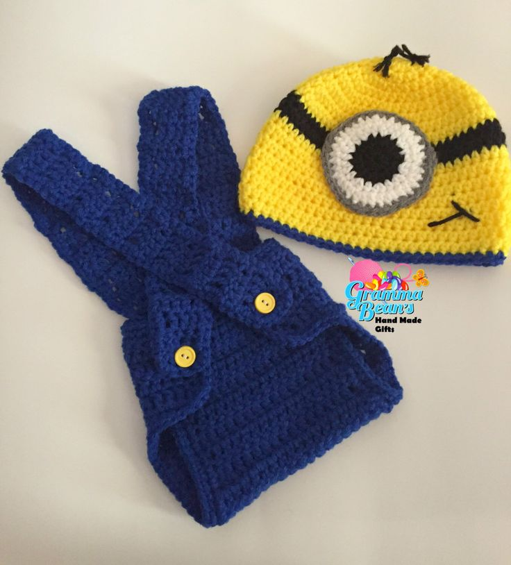 Crochet Minion Beanie and Diaper Cover by grammabeans on Etsy https://www.etsy.com/listing/235978280/crochet-minion-beanie-and-diaper-cover