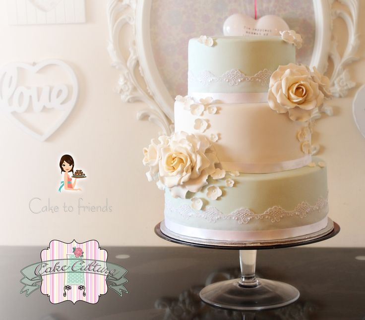 duck egg gold roses wedding cake