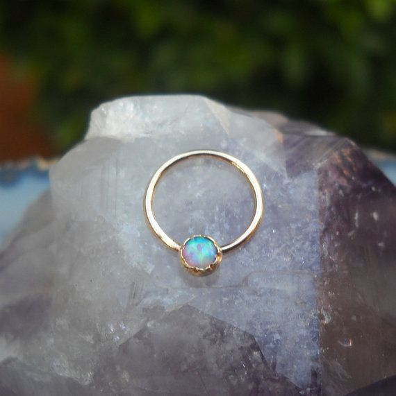 Blue Opal Septum Ring/Nose ring 14K Yellow by Holylandstreasures