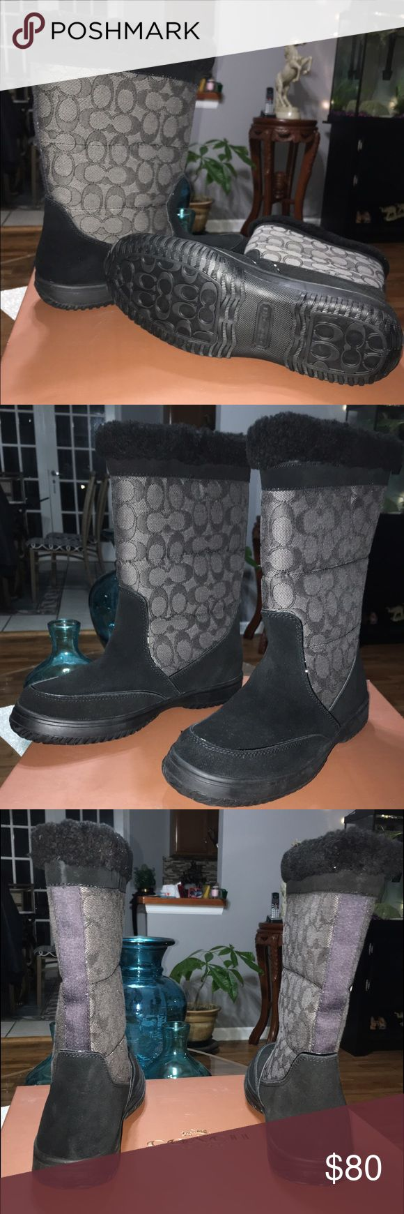 COACH Monogram Black and Grey Winter Boots NWT Brand NEW COACH Monogram Black and Grey Winter Boots in Original box. Never been used. Coach Shoes Winter & Rain Boots
