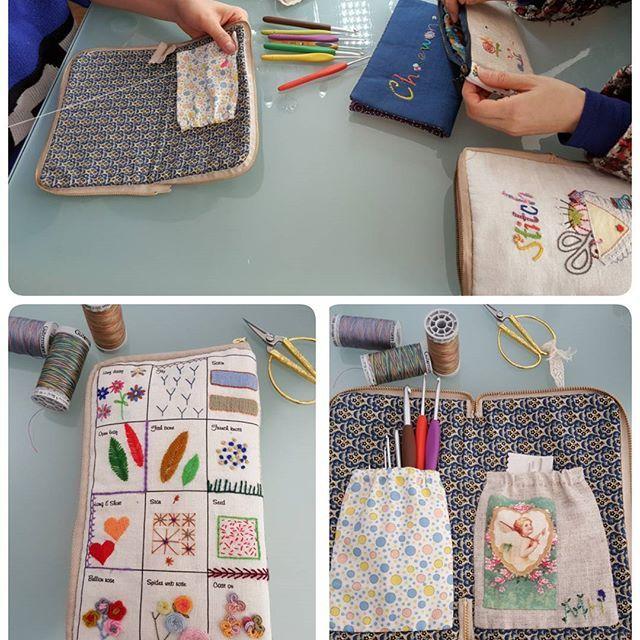 #embroidery #wool#vintage #antique#quilt#brooch#handmade#needleworks#handcraft#ribbon#리본자수#프랑스자수#평택자수 #자수타그램 #엔틱자수 #게으른울실#자수수업  스티치북으로 수업을 진행하지만 수업하시는 쌤의 용도에 맞게 실용적으로 사용하시게끔~ 그때~ 그때~ 달라요^^ 뜨게를 하시는 수업쌤은 뜨게바늘지갑을 원하셨어요.  #원하는대로