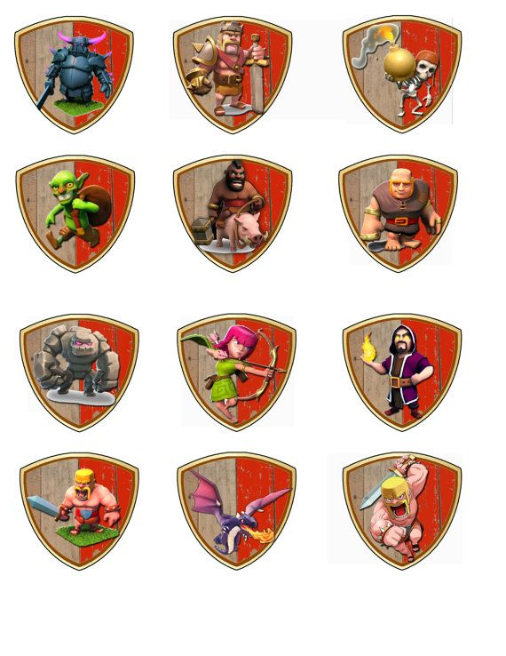 Instant download Clash of clans Cupcake Toppers by DecorAtYourDoor