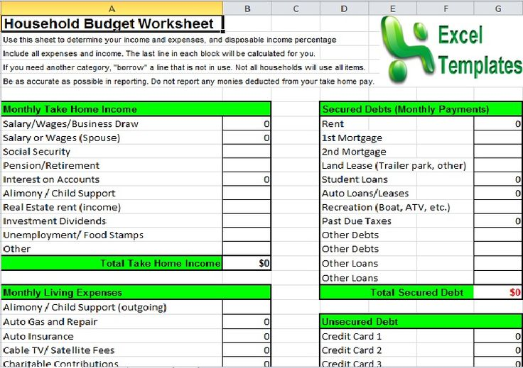 household budget spreadsheet template