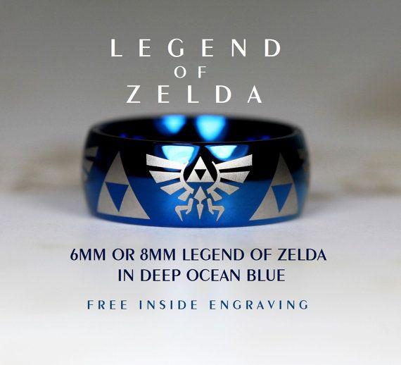 Top Quality Tungsten Wedding Ring Set, Deep Ocean Blue, 8mm Or 6mm Dome Legend of Zelda Design