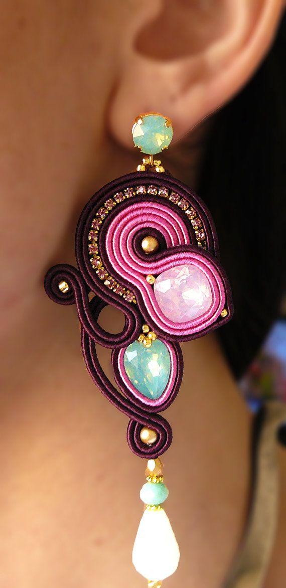 Soutache Earrings, Handmade Earrings, Hand Embroidered, Soutache Jewelry…