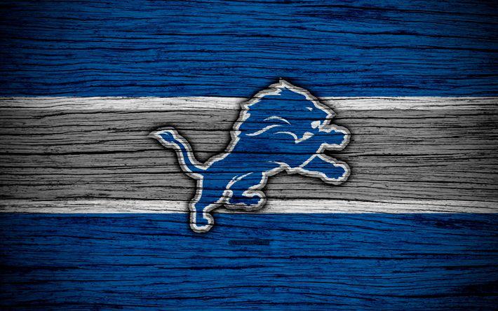Download wallpapers Detroit Lions, NFL, NFC, 4K, wooden texture, american football, logo, emblem, Detroit, Michigan, USA, National Football League