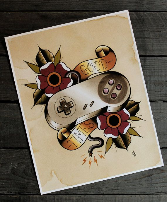 """Nintendo Super Nes Traditional Tattoo Flash Print 11""""x14"""" (Other sizes available)"""