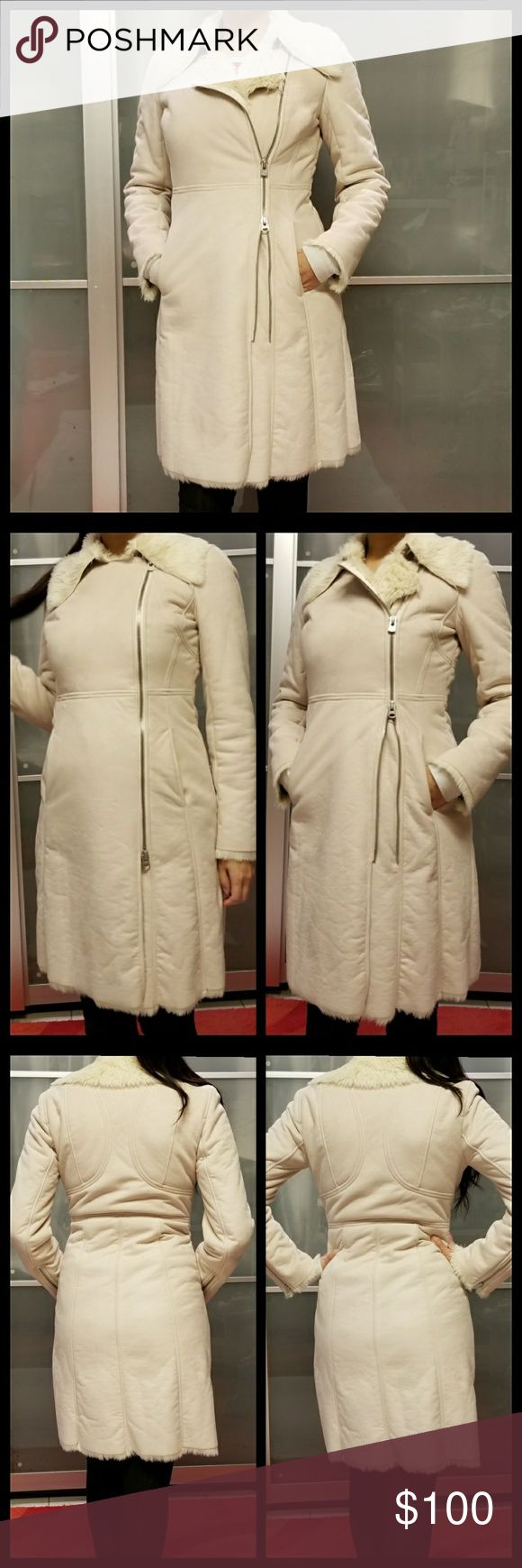 """A/X Armani Exchange Coat Faux fur warm coat Color : cream, beige 📏Flat Measurement : Pit to pit: 18"""" shoulder to hem: 36"""" Model reference 5'6""""  Pre-owned (have flaw inside pockets,  last pic)   Dry clean only Please pictures for detail *No trade A/X Armani Exchange Jackets & Coats"""